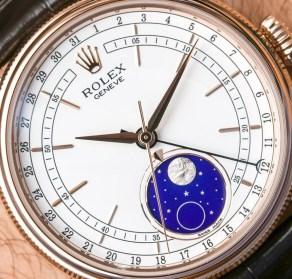 Bề mặt thiên thạch tạo nên Mặt trăng trên chiếc Đồng hồ Rolex Cellini Moonphase 50535